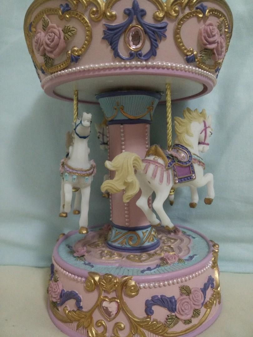 Musical Pink Merry-Go-Round Turning Carousel