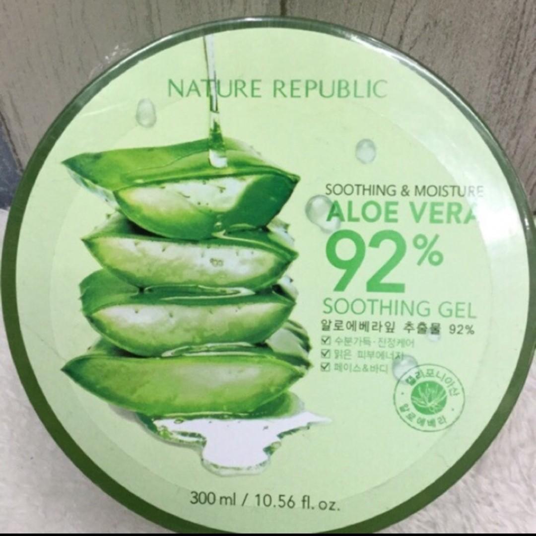 Nature Republic Aloe Vera Soothing Gel 92percent Dapat 3 Buah Spec 92 300ml Original Preloved Health Beauty Skin Bath