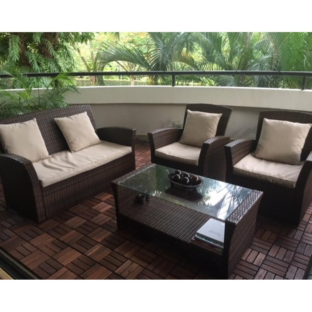 Outdoor Garden Or Balcony Rattan Table