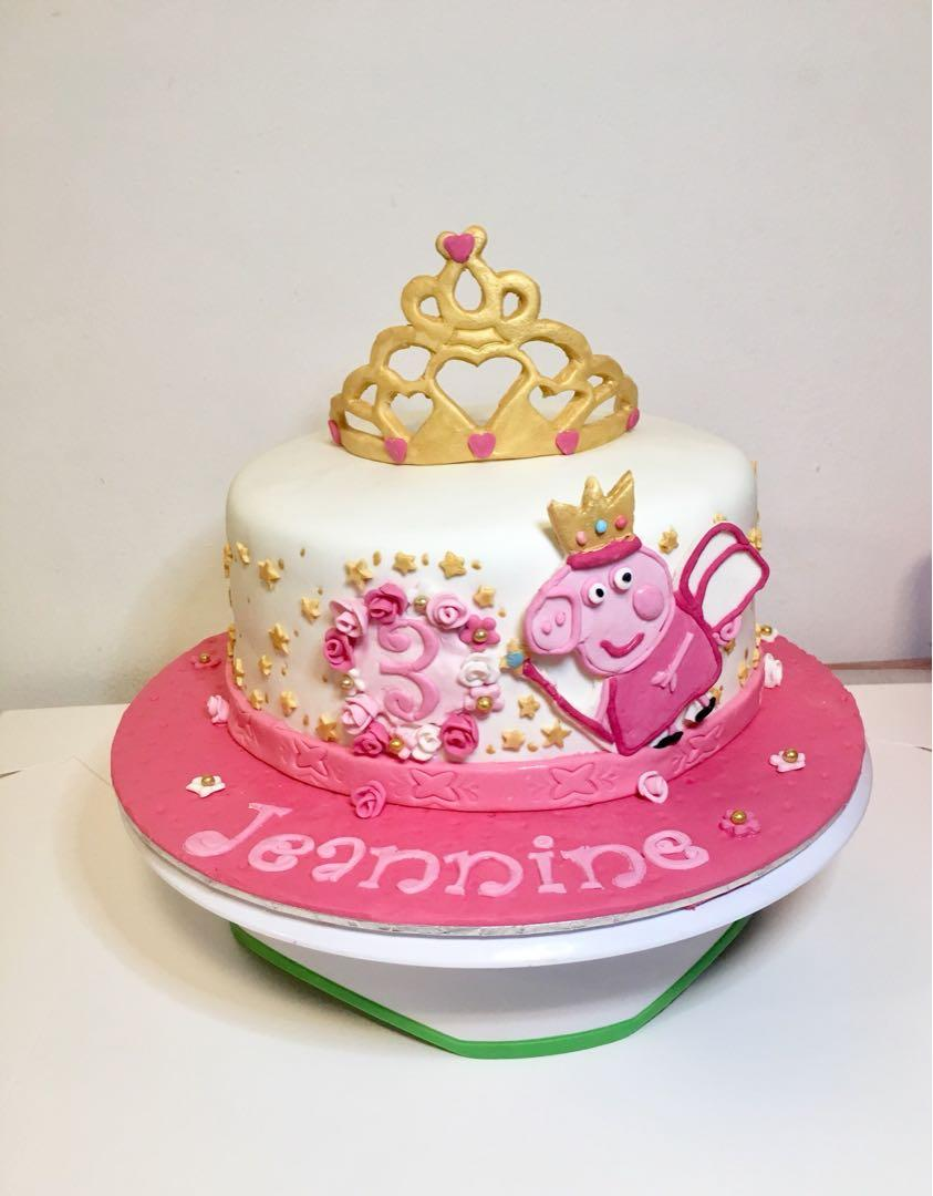 Admirable Peppa Pig Fairy Princess Themed Birthday Cake Food Drinks Personalised Birthday Cards Veneteletsinfo
