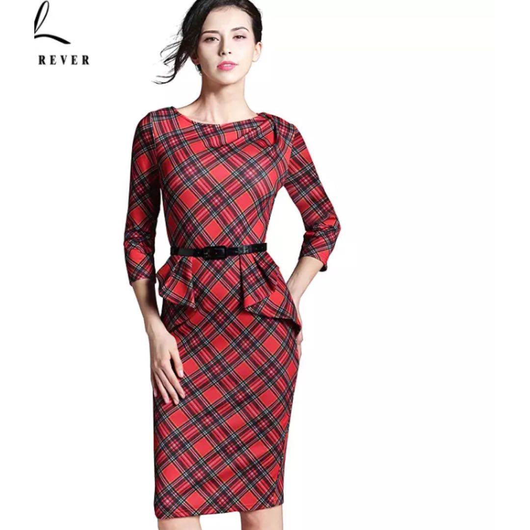 f6270ad29d0d8 PO) S-XXLU Spring Lady Vintage Tartan Red New Year Fitted Dress O ...