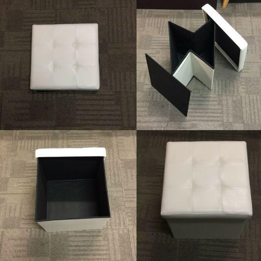 White Foldable Ottoman Storage Bench