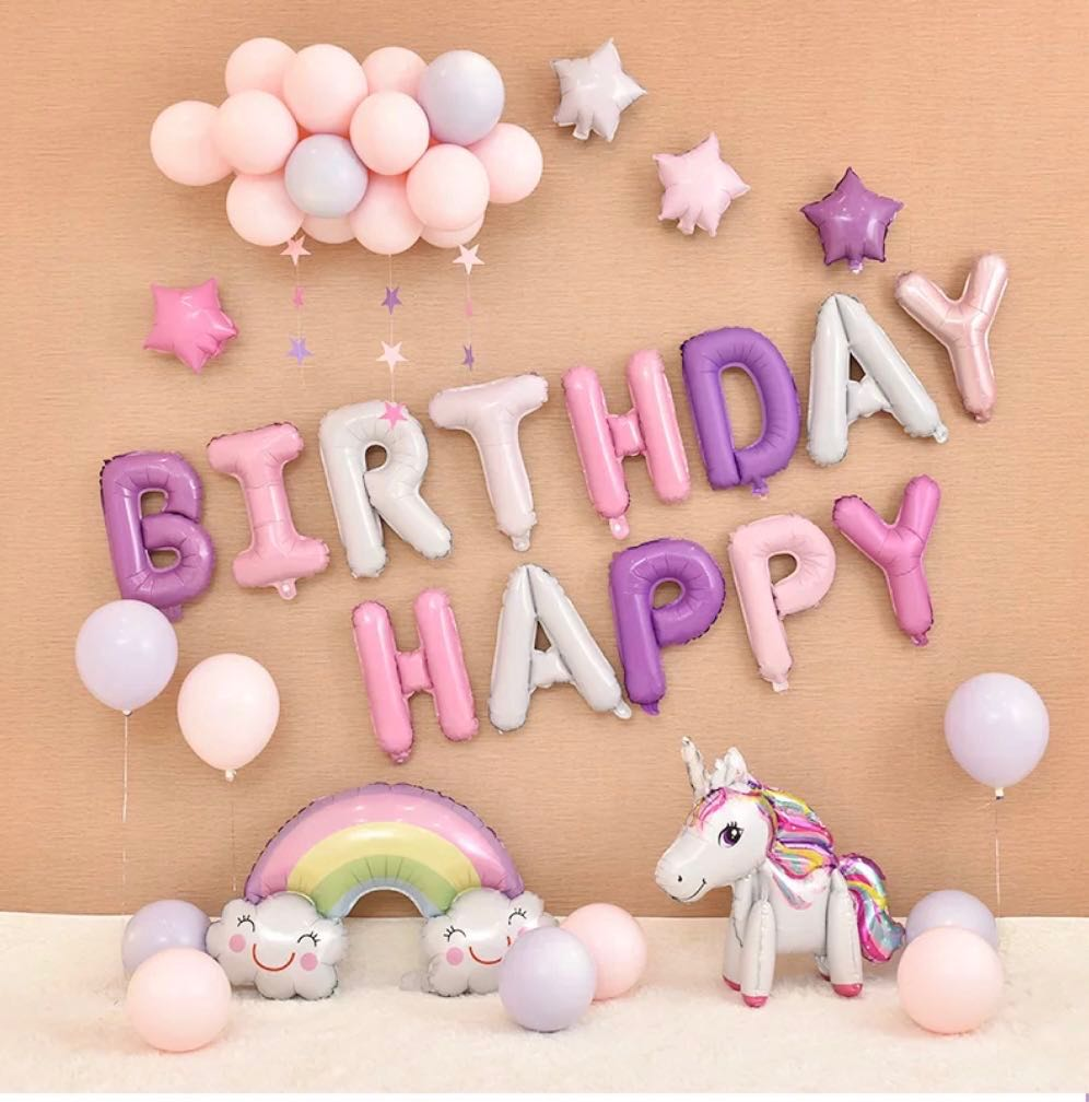 Unicorn Happy Birthday Balloon Set Balloons Pastel Colour Design