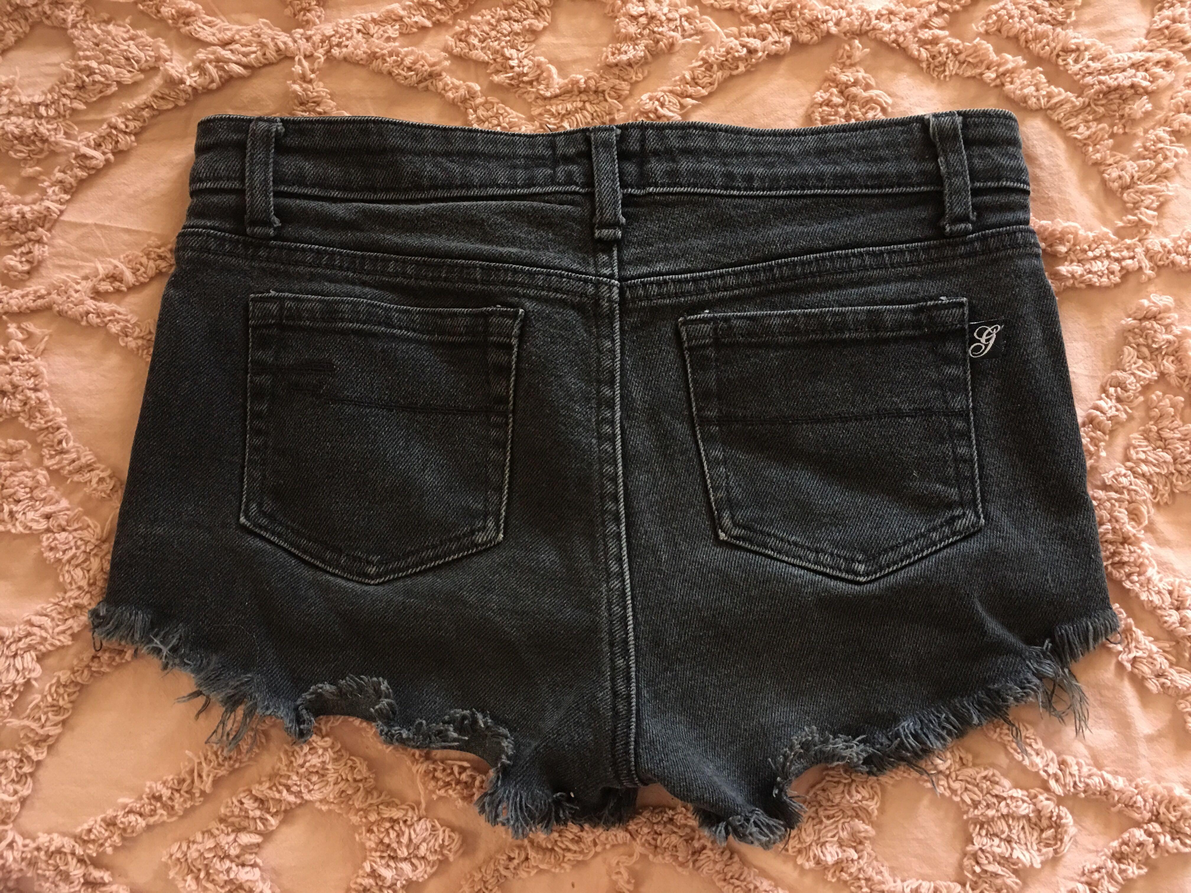 Womens Gripp Jeans Stretch Denim Cut Off Shorts 6-8