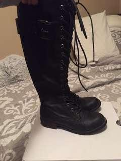 Military boots knee high