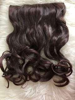Hairclip curly dark brown 70cm