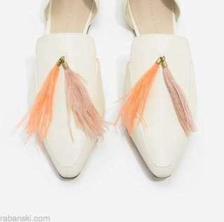 Charles & Keith white pointed flats