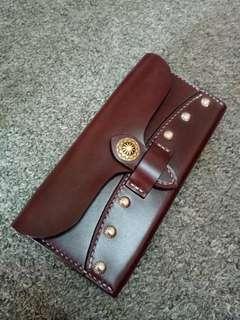 Abrasivato leather minimalist long wallet