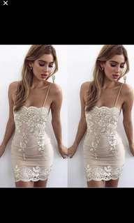 Premium embroidered dress in gold