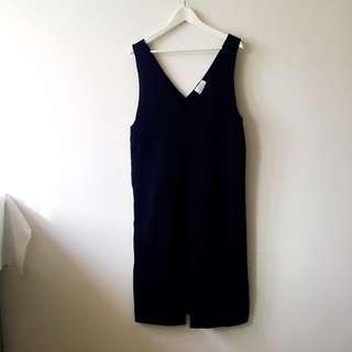BN Korean Minimalist Black V-Neck Midi Dress with Front Slit