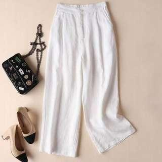 BN Korean White Linen Trousers Pants