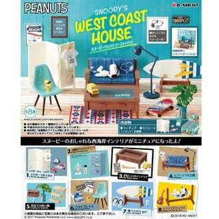 Re-ment 日本食玩 Peanuts Snoopy's West Coast House 史努比西海岸的房子篇 渡假屋 全套8款 (全新)