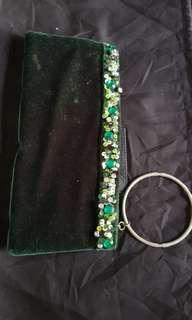 Clutch Ananas Velvet Green with wrist ring