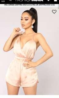 BNWT Fashion Nova Admire the View Satin Romper in Blush