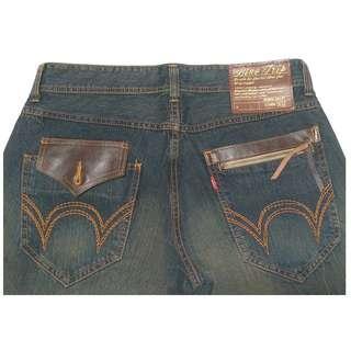 【跨年前賣場任2件減200】EDWIN 愛德恩 BLUE TRIP 503 復古刷色 刷紋刷白直筒褲 34腰 (9成新)