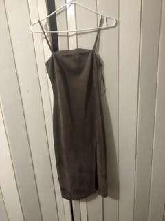 M taupe dress with slit