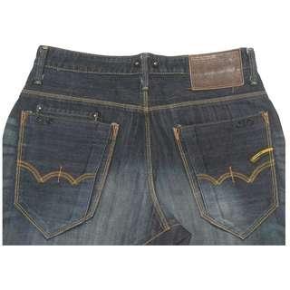 【跨年前賣場任2件減200】EDWIN 愛德恩 503 深藍色 刷紋刷白 3D褲 31腰 (9成新)