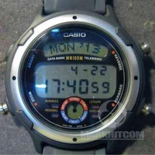 Casio BGT-30 TELE MEMO DATA BANK BUSINESS GRAPH BLACK COLOR WR 100M Watch