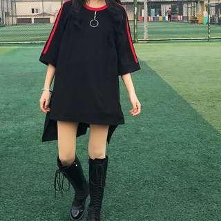 black top/dress split tee