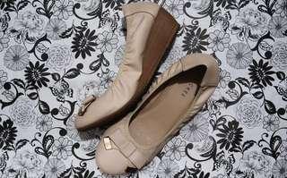 Beige wedge heels