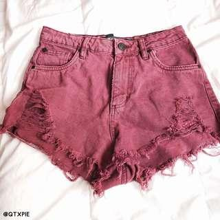 factorie maroon ripped shorts