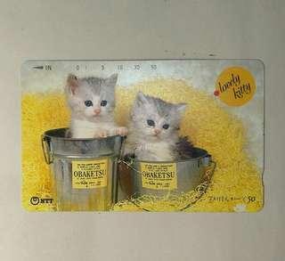 🚚 日本舊電話卡  兩隻貓咪