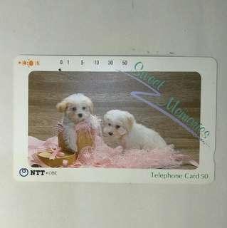 🚚 日本舊電話卡 兩隻小狗