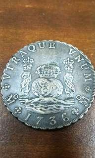 Super Rare Old Coins: 1736 MEXICO 8 REAL PHILIP V,  VERY SCARCE SPANISH COLONIAL PILLAR. - This coin was recovered from the ship wreck of the Hollandia which sank in 1743.
