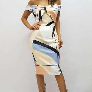 Gorgeous bodycon off shoulder wiggle dress available Sz 8/10/12/14