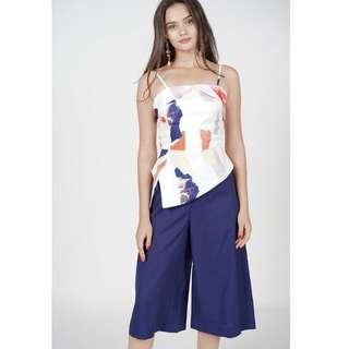 MDS Collection Belva Cami Jumpsuit in White Brush Size : XS