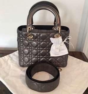 Christian Dior Lady Dior Metallic Grey Cannage Medium w Champaign GHW