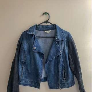 Denim with faux leather jacket