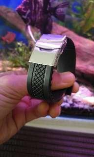 22mm soft Silicone high quality rubber strap with deployment buckle