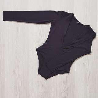 Oh Polly deep plunge long sleeve black bodysuit