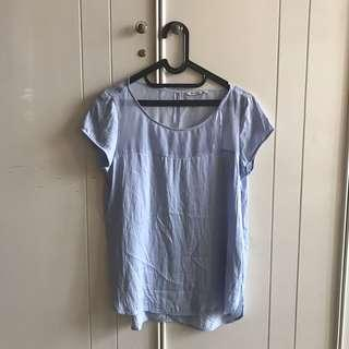 Stradivarius Blue Transparant Blouse Top Shirt