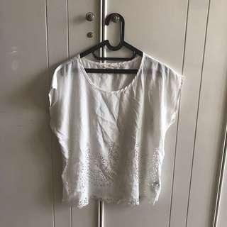 Forever 21 White Simple Top Blouse Shirt