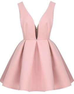 pink zippered plunge V dress