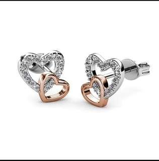 Love with rose gold earring- Swarovski