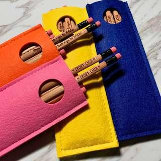 🚚 Personalised 2B Pencils with Felt Pouch