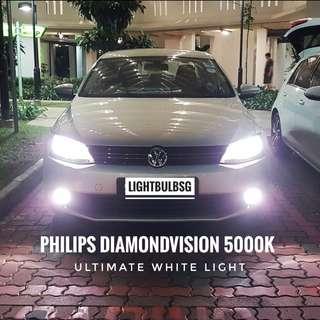 Vw Jetta golf MK5 MK6 MK7 scirocco on H7 philips diamondvision white car headlight bulb + installation.