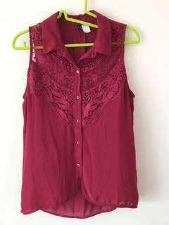 H&M Maroon Lace Top