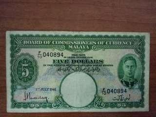 Malaya $5