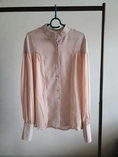 Mixed Fabric Blouse