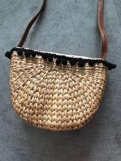 Straw Weave Bag with Long Sling (small)