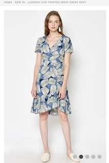 Laureen Leaf Printed Wrap Dress Navy