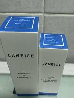 Laneige pore cleansing oil & eye and lip remover travel size