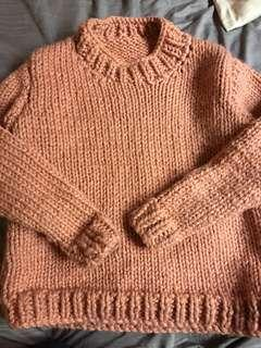 HAND KNITTED WOOL KNIT MUSK PINK