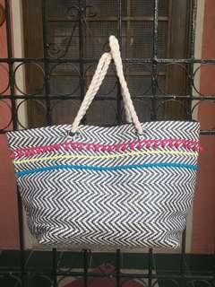 Blue and white beach bag