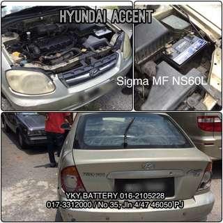 Kereta Bateri Hyundai Accent , Sigma MF NS60L