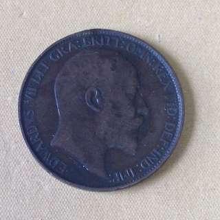 1908 GB Half Penny coin